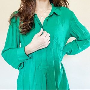 Green Half-Button Up Blouse